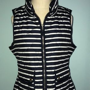 J-Crew Navy blue and white striped vest